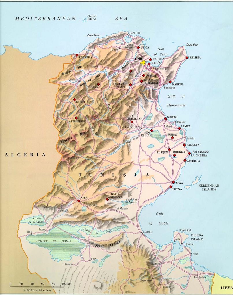 Mapa físico de Túnez
