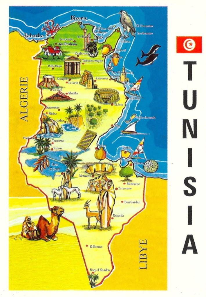 Mapa turístico de Túnez