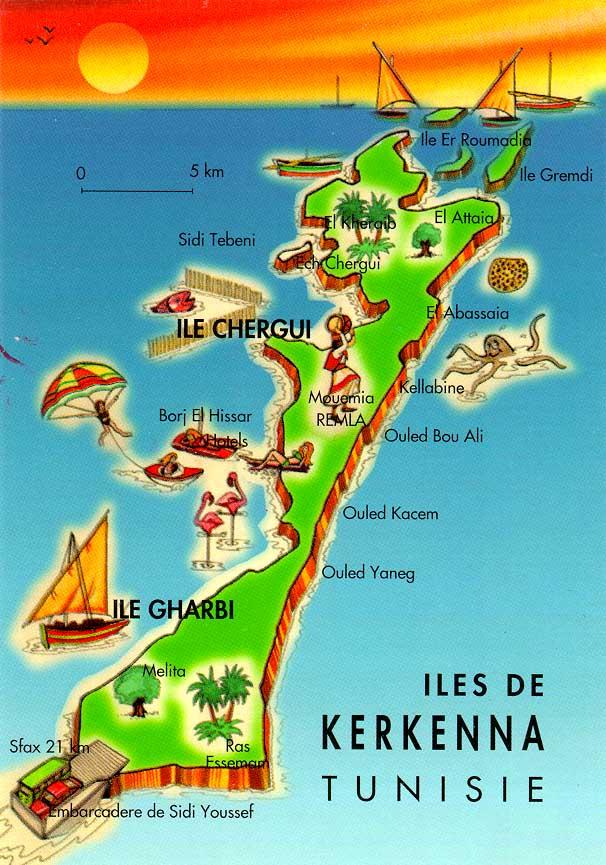 Mapa de las Islas Kerkennah