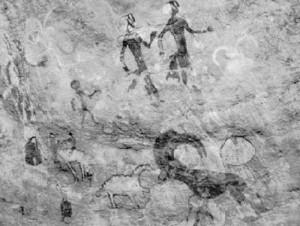 Las pinturas rupestres del neolítico encontradas en Tassil-n-Ajjer (Meseta de los abismos), la región del Sahara (Foto Wikimedia commons)