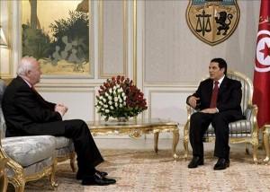 Presidente Zine El Abidín Ben Alí reunido con el ministro español de Exteriores