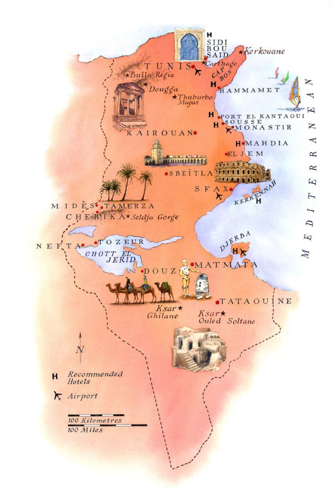 Mapa de los monumentos de Túnez