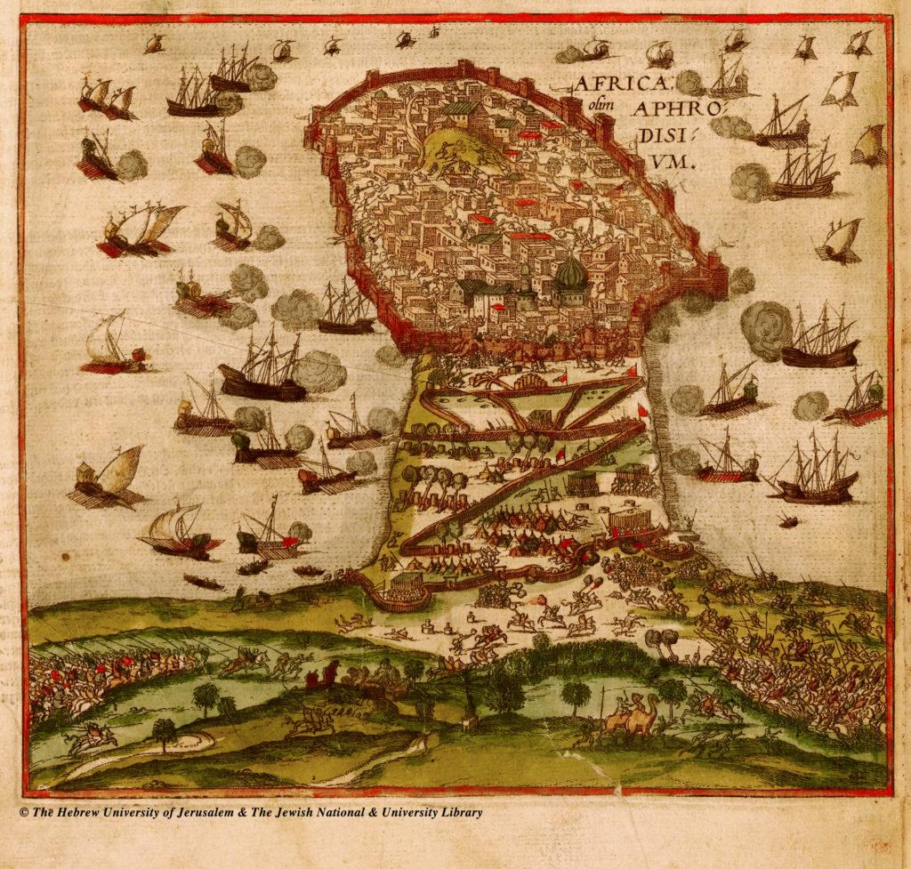 Mapa de la captura de Madhia en 1550